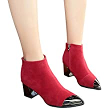 Botas Cortas de Las Mujeres del Dedo del pie Puntiagudo, Zapatos de cuña