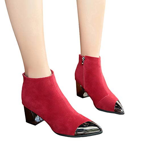 ❤️ Botas Cortas de Las Mujeres del Dedo del pie Puntiagudo, Zapatos de cuña de Gamuza de Moda de Las Botas de Martin Boots Arranque de la Cremallera otoño Invierno Absolute