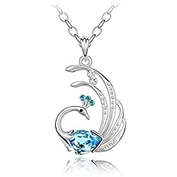 Shining Diva Genuine Austrian Crystal 18k White Gold Plated Peacock Pendant Necklace Gift For Women & Girls