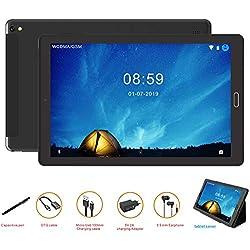 Tablette Android 10 pouces Tablette Android 8.0,4G Phablet avec 3 slots (double SIM+ SD), processeur quadricoeur, 1.5GHz, 3G+32GB, double caméra, WiFi, Bluetooth, GPS