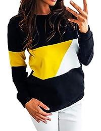 QinMM Mujer Sudaderas Manga Larga Bloque de Color Blusa Casual Sudadera Camiseta Top Deporte