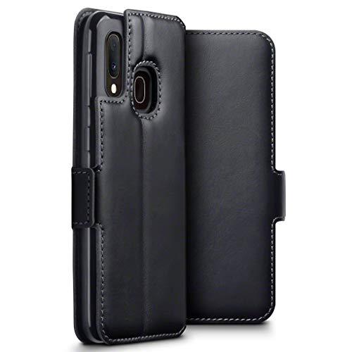 TERRAPIN, Kompatibel mit Samsung Galaxy A20e Hülle, Premium ECHT Spaltleder Flip Handyhülle Samsung Galaxy A20e Hülle Tasche Schutzhülle, Schwarz