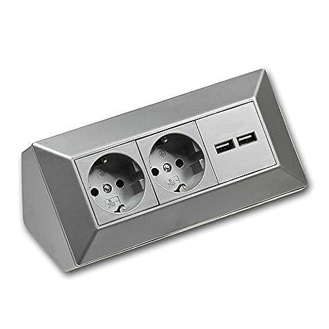 Bloc multiprise 2 prises+ 2prises USB, argenté, 250V/16A, Montage