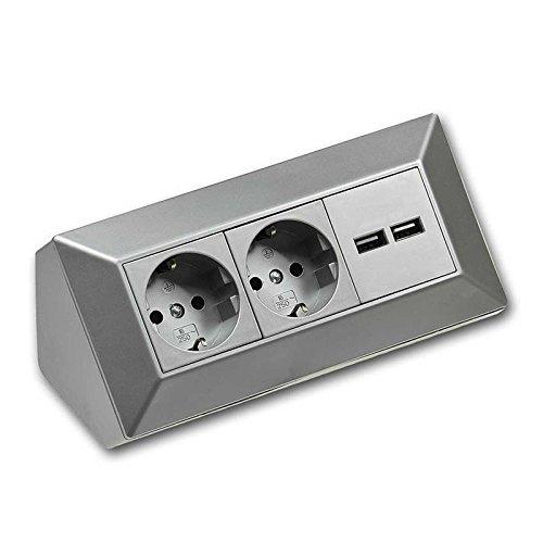 ecksteckdosen fuer kueche Steckdosenblock Ecksteckdose Steckdosenverteiler 2 USB & 2 Steckdosen Werkstatt Küche silber