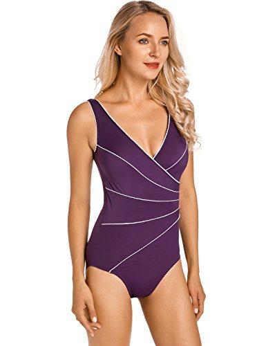 Delimira Damen Große Größen Bademode - Schale Einteiler Schlankheits Badeanzug dunkel-lila 42