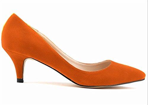 Wealsex stiletto schuhe Spitze Damen Pumps Elegante High Heels 2017 Frühjahr-Sommer Orange