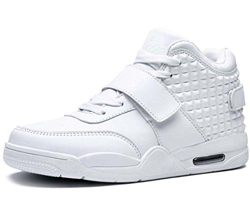 Scarpe Da Basket Da Uomo Scarpe Da Ginnastica Alte Scarpe Da Jogging Di Grandi Dimensioni Con Velcro Bianca