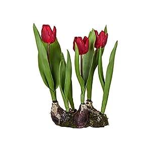 Sia Home Fashion Tulipani Finti, 38 Cm, Colore: Rosso