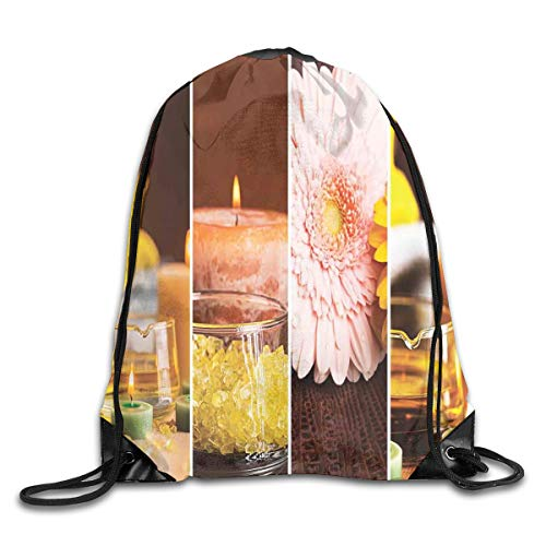 HLKPE Drawstring Backpacks Bags Daypacks,Aromatic Collage with Gerbera and Candles Exotic Asian Body Therapy and Treatment,5 Liter Capacity Adjustable for Sport Gym Traveling