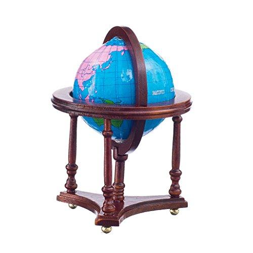 01:12 échelle Miniature Globe Pour Dollhouse avec Stand Rouge Foncé