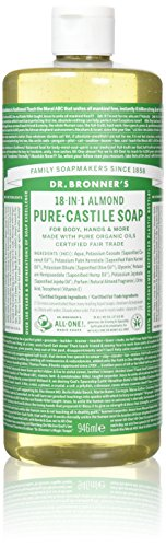 Dr. Bronner Magic Soaps Pure-Kastilien Seife, 18-in-1 Hemp Almond, 32-Unzen-Flaschen (2er Pack)