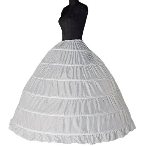 ZJchao 6-Hoop reifen Petticoat weiß Braut Krinoline Petticoats Slips Unterrock