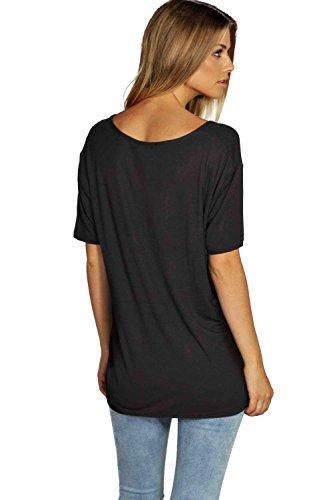 Noir Eva T-Shirt Surdimensionné À Bretelles Devant Noir