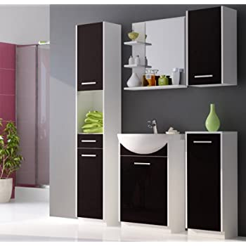 badm bel set badezimmerm bel mit waschbecken wei matt schwarz hochglanz k che. Black Bedroom Furniture Sets. Home Design Ideas