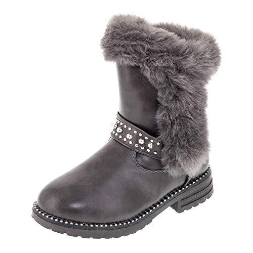 Infiniti Gefütterte Mädchen Stiefel Boots Schuhe in verschiedenen Farben mit Fell M489gr Grau 26 EU