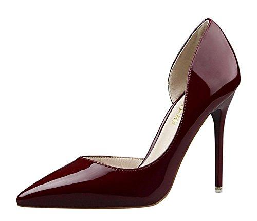 Wealsex stiletto high heels damen elegant pumps Rotwein