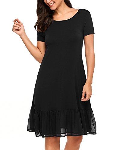 Parabler Damen Kurzarm Stretch Casual Loose T-Shirt Kleid Schwarz L