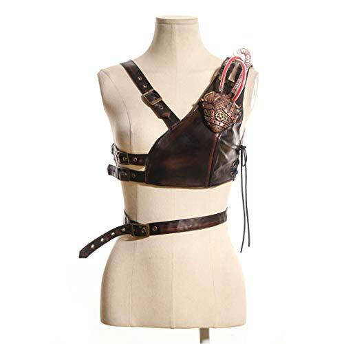 Dhrfyktu Frauen Steampunk Victorian Chest Harness Straps Gürtel Zubehör Brustgurt Gürtel mit Metal Heart Adventurer Kostüm Brown (Farbe : Braun, Size : ()