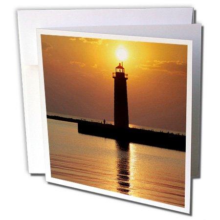 3dRose Gc_91212_2 Grußkarten, Motiv: MI Muskegon Leuchtturm am Michigan See, US23 RER0002 Ric Ergenbright (Michigan See Karten)
