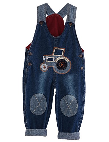 MG Kids Unisex Baby Roll Up Jumpsuit Dungarees Tractor Cartoon Boys Girls Jumpsuit Denim Toddler Jeans 100