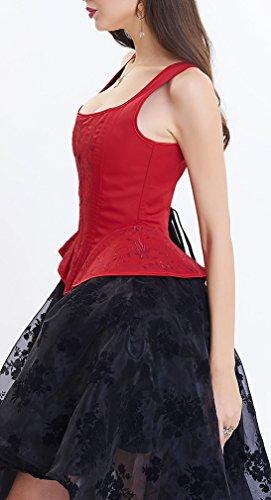 EmilyLe Donne di Baschi gotico Bustini Steampunk di Halloween del corsetto vestito massimo minimo costume gonna di pizzo Rosso