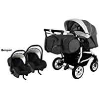 Adbor Duo Spezial Zwillingskinderwagen mit Babyschalen, Zwillingswagen, Zwillingsbuggy