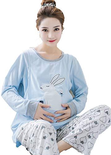 Menran Kaninchen Muster Sleepwear Casual Rundkragen Zweiteiliger Schlafanzug Strickwaren Stickerei Pyjamas Set Lange Ärmel Einfach Nachthemd Locker Große Größen Schlafshirt
