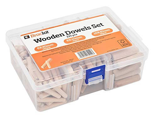 225 Stück Holzdübel Set geriffelt rund konisch Langholzdübel Riffelholzdübel 100 St. 6mm 75 St. 8mm 50 St. 10mm Durchmesser 40mm gerillt