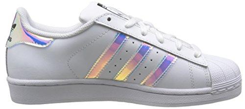 adidasSuperstar - Scarpe da Ginnastica Basse Unisex – Bambini Bianco (Blanc (Ftwr White/Ftwr White/Metallic Silver Sld))