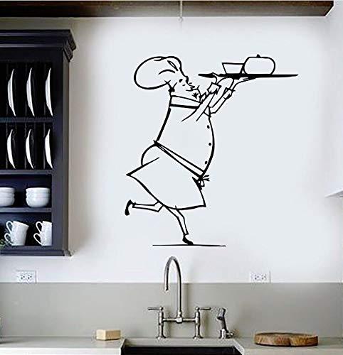 Vinyl Wandtattoo Restaurant Chef Wandaufkleber Kithen Interior Design Kunstwand Koch Essen Für Küche Decor Aufkleber AY602-105x95 cm