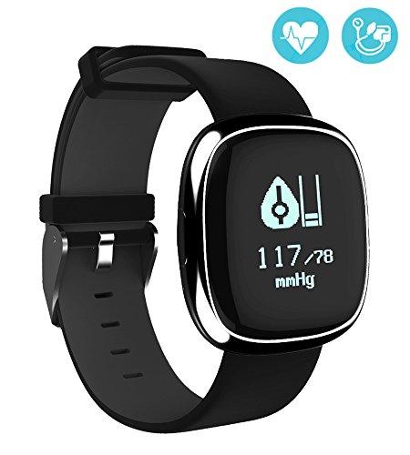 Palestra attività Tracker Smart Band frequenza cardiaca Monitor orologio passo Walking dormire contatore Wireless pedometro esercizio Tracking sport braccialetto per iOS Android smartphone (Nero + puro)