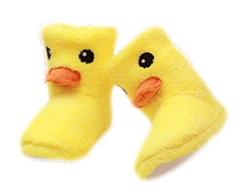 Auspicious beginning Rubber Duck imprimé Cartoon Chaussures de sport Bottes d'hiver chaud Accueil Souliers simples de femme jaune-2