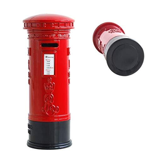 Wuyee Red Iron Vintage Piggy Bank Caja Fuerte Caja Fuerte Moneda Duradera Pilar Box