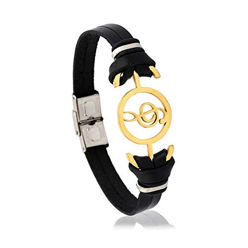 YUHUS Home Accessoires de Bracelet de Bracelet d'hommes de Bracelet de Bracelet de Silicone d'acier Inoxydable (Color : Black -B)
