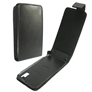 LUPO Leather Flip Case for Samsung S5230 Tocco Lite - BLACK