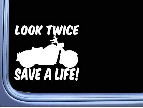 CELYCASY Look Twice Save a Life M377 - Adesivo per casco da moto, 15,2 cm
