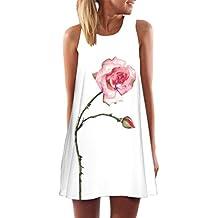 Vestido Para Mujer, Oyedens Vintage Boho Mujer Verano sin mangas Beach Printed Mini vestido corto