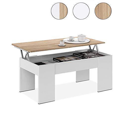 Habitdesign 0F1640A Couchtisch, höhenverstellbar, Esstisch aus kanadischem Eichenholz, Maße 45 x 100 x 50 cm tief. -