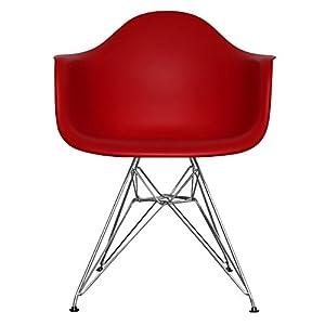 ... Stuhlkissen Eames Stuhl Weiss. View: Esszimmerstuhl Aus Kunststoffsitz  Mit Metallbeinen Rot