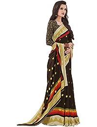 Salwar Studio Women's Brown & Beige Crape Silk Polka Dots, Geometric Printed Saree With Blouse Piece-ADAA-6413