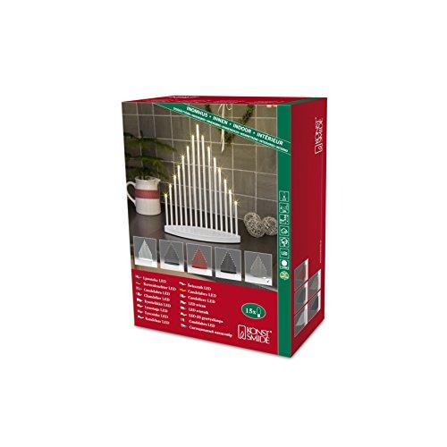 Konstsmide 2495-900TR LED Metallleuchter gebürstet / für Innen /  3V Innentrafo / 15 warm weiße Dioden / transparentes Kabel -