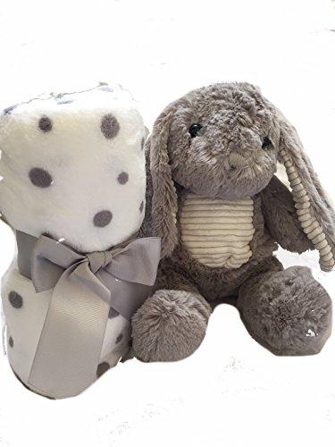Plüschhase mit Decke, Flauschedecke, tolles Geschenk, grau Super süß, Plüschtier Kuscheldecke Geschenk für Kleinkinder Kinder