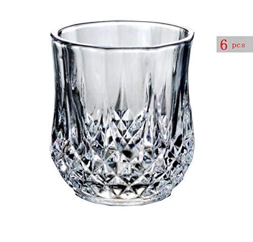Yycdd bicchieri whisky di qualità premium bicchieri per liquore al piombo senza piombo, tazza in vetro art déco con boccale di diamante, lavabile in lavastoviglie (6p)