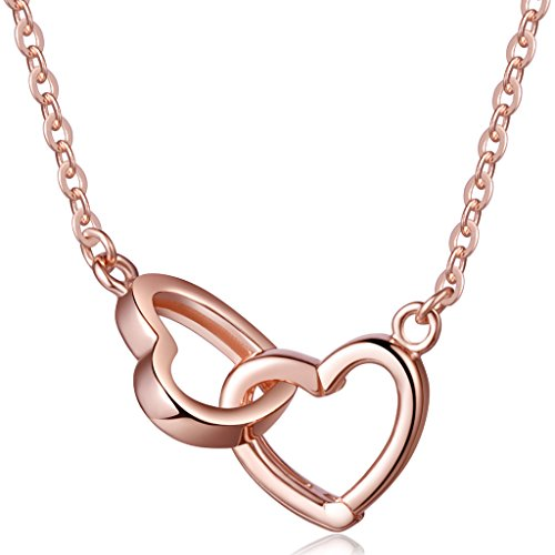 Unendlich U Klassisch Doppel-Herzen Damen Halskette 925 Sterling Silber Anhänger Kette mit Veränderbarem Anhänger, Rosegold
