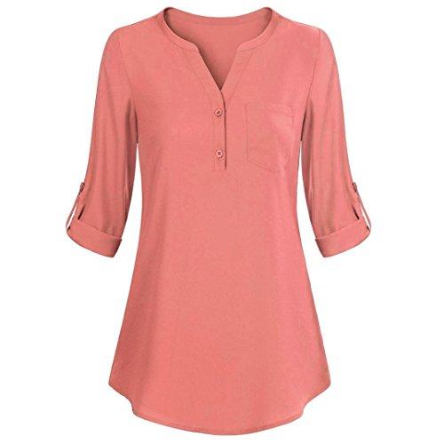 Sommer Tops Damen Kurzarm Basic Uni Leichtes Freizeit Rundhals mit Knopf Plissee T-Shirt Oberteile(XL,Rosa) (Piraten Jacke Braun Wildleder Kostüme)