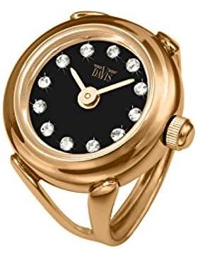 Davis - Ring Watch 4160 – Ringuhr Damen Swarovski Strass Roségold Ziffernblatt Schwarz- Verstellbar
