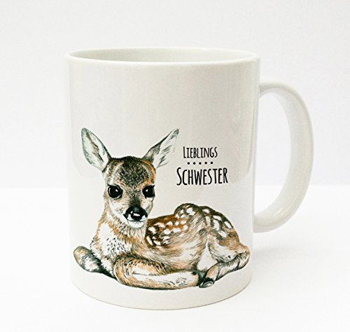 ilka parey Wandtattoo del mondo Tazza Mug tazza di caffè Cup Mug Reh cerbiatto Bambi con scritta Liebling sorella ts177