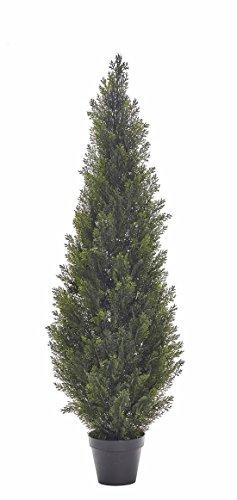 artplants – Künstlicher Zeder, 125 Nadelbündel, grün, uv-sicher, 150 cm – Kunst Zypresse/Deko Hecken Baum