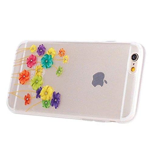 [ iPhone 6 Plus, iPhone 6S Plus ] Coque Cover de Téléphone Mobile, Etsue Joli Toutes les couleurs du Coloréés Fleur Motif élégant Luxury Transparent Rose Souple Anti Poussiere Resistance Anti-rayures  Fleur Coloré