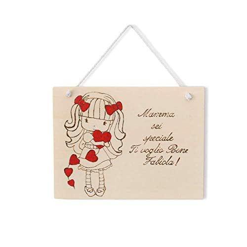 Targa regalo festa della mamma o compleanno in legno personalizzabile tema bambina